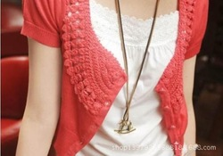 Womens Crocheted Shawls shrug cotton short-sleeve short cardigan sweater(China (Mainland))
