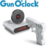 36pcs/ctn wholesale Novelty alarm Clock Gun clocks novelty toy magic gift white 13x13x4.2cm 600g/pc AA*6 not include