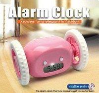 48pcs/ctn wholesale running away digital alarm clock with LCD display hide and seek pink black yellow white good gift AAA*4