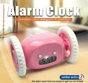 free shipping by CPAM running away digital alarm clock with LCD display hide and seek pink black yellow white good gift AAA*4(China (Mainland))