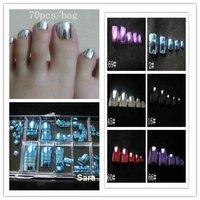 Wholesale Hot Shiny Minx Metallic Full Cover Toenail  Tips, Blue, 70pcs/set + Free Shipping