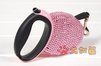 Rhinestone Retractable Dog Leash brand pet lead Stretchable