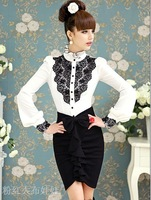 Free shipping 2014 White black lace ruffle stand collar puff sleeve shirt,blouses for women ,Blouses,S/M/L/XL