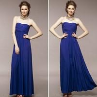 free shipping 5349 elegant tube top slender waist dinner formal dress evening dresses party women's diamond blue