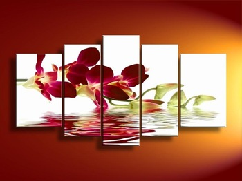 Free Shipping hand-painted oil wall art Water red flowers beauty home decoration Landscape  oil painting on canvas 5pc/st  DY053