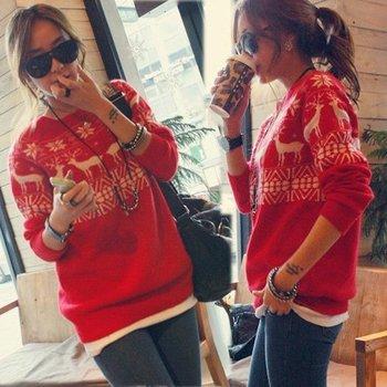 случайные ёенская рождеством красный снегу оленей свитер вязание трикотажа длинным рукавом оптовая перемычек