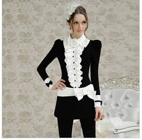 2012 spring /splicing/ ruffle/ tight/ women long-sleeve /black-and-white women&amp;#39;s shirt