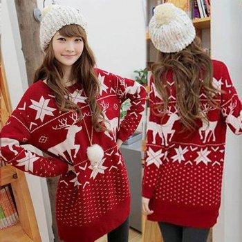 Повседневная женщин свитер Прекрасный мультфильм Снежная Xmas Deer Red Вязание Трикотаж Джемперы пуловер Оптовая
