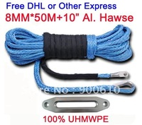"FREE EXPRESS 8MM*50Meter UHMWPE Synthetic Winch Rope  w/t+10"" Al. Hawse for SUV 4*4 WARN"