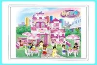Enlighten Children Sluban M38-B0150 Romantic Restaurant Girl's Dream Pink House Playing Model Building Kits 3D Jigsaw Puzzle Toy