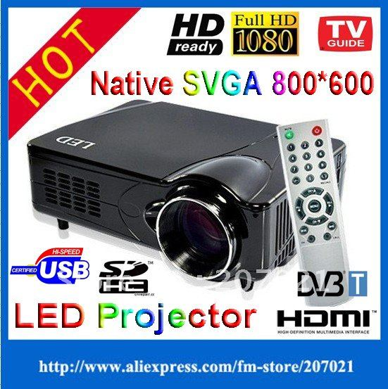 HDMI HD LCD Portable 720P Multimedia Games and entertainment Video home theater LED Projector with DVB-T USB SD Free HDMI Cable(China (Mainland))