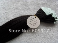100% human remy hair black straight PU taped skin weft hair extension with high quality