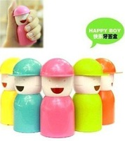 Novelty Item Creative Happy Boy ABS Plastic Toothpick Holder Box Multi-Colors Free Shipping