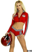 speed queen is a racing girl with her sexy costume include the sexy booty shorts,zipper front top in long sleeves with patches.