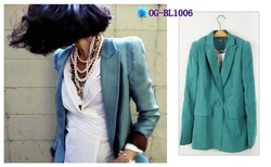 Free shipping, Korean style 2012 fashion pattern lining bice women slim blazer/ coat, 1color, S, M, L(China (Mainland))