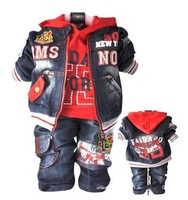 free shipping Baby Boys thick Sets suits top coat+shirt+pant jeans baby clothing yellow black 3pcs/set 3set/lot HOT