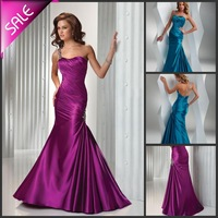 On Sale !Custom Made Fashion Mermaid Style One Shoulder Perfect Wrap Butt Floor Length Taffeta Evening Dress