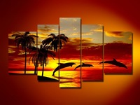 Free Shipping hand-painted oil wall art Sunrise beach dolphins home decoration abstract Landscape oil painting on canvas DY-068