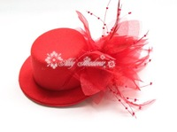 "Mini Top Hat with feather flower Hairclip Fascinator headdress  5"" in diameter 12pcs/lot, Free Shipping"
