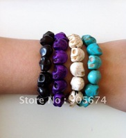 Multicolor Turquoise Skull Bracelet Hiphop Adjustable Skull Bracelets Free Shipping