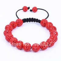 Shamballa Jewelry,16 PC 10mm Red Micro Pave Crystal Disco Ball Beads Shamballa Bracelet with Free Gift Box,Free Shipping