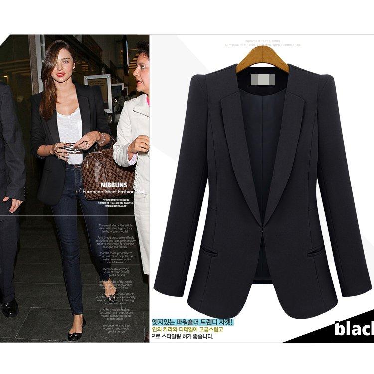Best New Female Fashion Blazer Outerwear Shoulder Pads Suit Plus ...