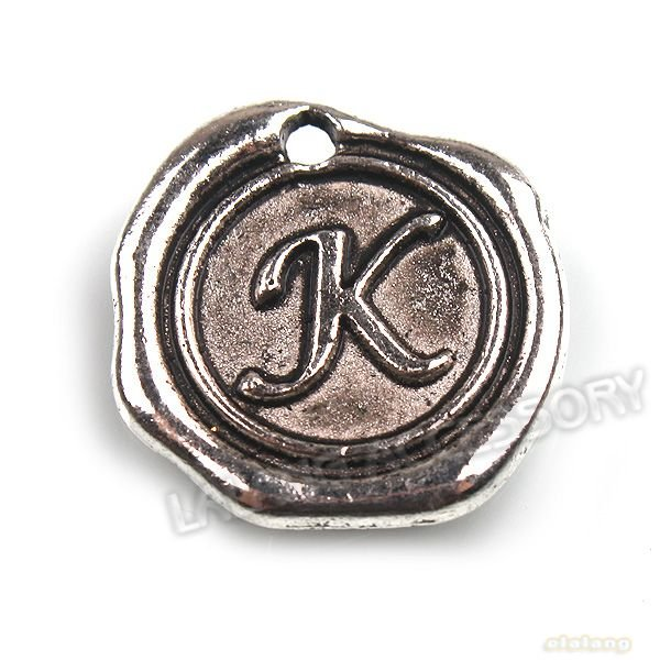 Fashion Letter K 72pcs/lot Letter K Charms Silver Blacken Pendant Fit Jewelry DIY20x18x2mm141434(China (Mainland))
