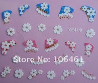 Free Shipping france style 3D flower  fake nail sticker new style  mix size XF419