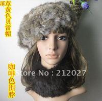 Freeshipping Hand knitting Genuine Rabbit Fur Beret Hat  /cap/headdress