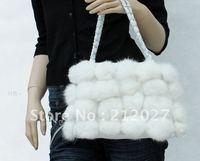 Free Shipping Genuine Rabbit Fur Ball Fashion handbag women's bag wholesale and retail