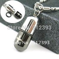 Love Poison Man's Pill Titanium Steel  Necklace Capsule Pendant Jewelry Chain Fashion Necklace XL709