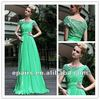 LED303 Green Ruffle Lace Cap Sleeve A-line Pageant Evening Dress Fashion 2012
