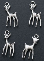 50 Tibetan Silver 3D Animal Spotted Deer Charm 0088(China (Mainland))