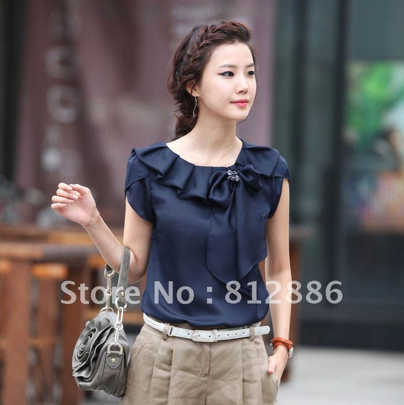 Women-s-2013-summer-top-peter-pan-collar-loose-blouse-fashion-bow