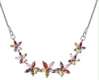 New 18K White Gold Plated Multicolor Seven Zircon Flowers Links Necklaces Zircon Necklaces