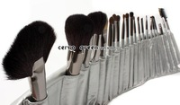 2012 hot sell cerro qreen markup brush 21pcs/sat silver colore wool with pu leather bag free shipping