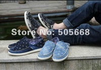 Summer hot selling cowboy Denim shoes Men breathable shoes men's British fashion shoes lotus leaf shoe