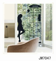 Free shipping Telephone box wall sticker, Removable wall stickers, window stickers,Home Decoration decor sticker  JM 7047