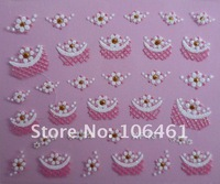 Brand new france flower  fake nail sticker art nail decal xf431 free shipping mix order