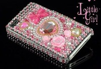 DHL Free Shipping hot sale lovely Heart Pattern Diamond Rhinestone Bling Case for iPhone 4 4S  100pcs/lot