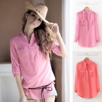 The new Slim long-sleeved stand-collar chiffon shirt ,Send belt