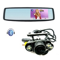 "Free Shipping!!4.3"" TFT-LCD Car Bluetooth Rearview Monitor Mirror+Waterproof 2 LED Car Camera"