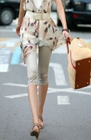 2013 New style Summer Autumn Women Stretch Slim Cotton Fashion wild Lace Capris Trousers free shipping LJ058