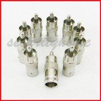 10 Lot BNC Female JACK to RCA Male Plug Coaxial Adaptor