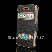 Free shipping Luxury Synthetic Leather Magnetic Flip Case Cover for iPhone 4 4G 4S +1 year warranty + 100% brand new