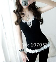 vest Gorgeous Lady Sexy super lace vest Sleeveless T-shirts women Cotton DE8003