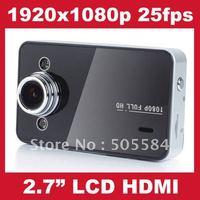 "HD Car recorder 1920x1080p 25fps Car DVR Camera K6000 HDMI 2.7""LCD Vehicle video camcorder Night vision & Motion detect"