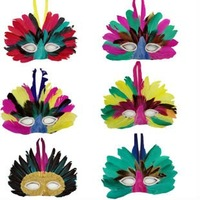 Halloween party mask supplies large feather mask design random Free Shipping