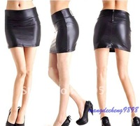 Hot Fashion Women Black Faux Leather Look Tights Back Zip Mini High Waist Short skirt Pencil Skirt S/M/L Drop Shipping