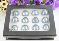 12PCS Quality Lampwork Polish Black Glass Wide Rings #21930